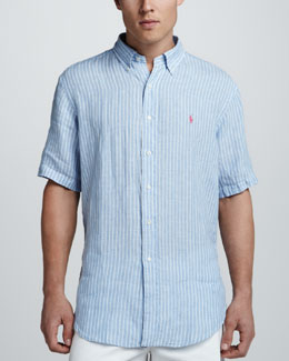 Polo Ralph Lauren Striped Short Sleeve Linen Shirt, Blue/White