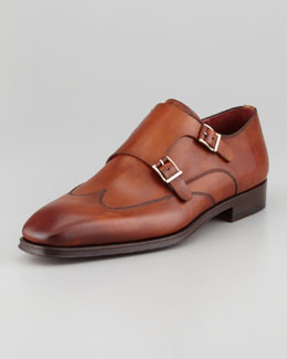 Magnanni Double Monk-Strap Loafer, Cognac