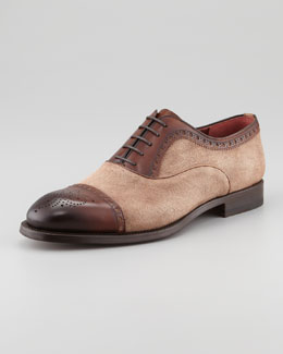 Magnanni Two-Tone Lace-Up Oxford, Cognac