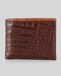 Santiago Gonzalez Bicolor Crocodile Wallet, Brown/Cognac