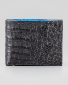 Santiago Gonzalez Bicolor Crocodile Wallet, Gray/Blue