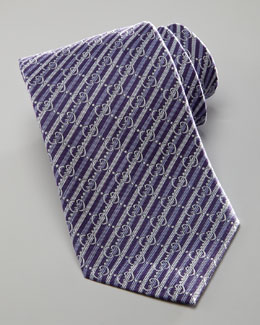 Gucci GG Striped Tie, Dark Purple