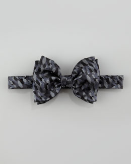 Lanvin Camo Silk Bow Tie, Black