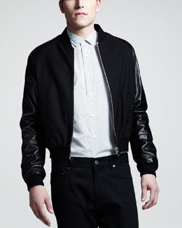 Saint Laurent Leather-Sleeve Varsity Jacket