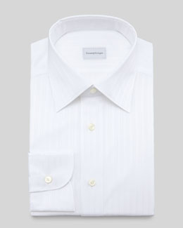 Ermenegildo Zegna Tonal-Stripe Dress Shirt, White
