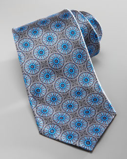 Ermenegildo Zegna Medallion Silk Tie, Gray/Blue