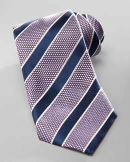 Ermenegildo Zegna Striped Silk Tie, Purple/Navy