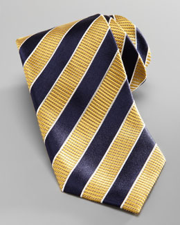 Ermenegildo Zegna Striped Silk Tie, Yellow/Navy