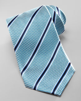 Ermenegildo Zegna Striped Silk Tie, Aqua/Blue