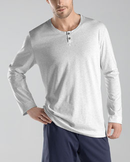 Hanro Night/Day Henley Tee, Gray