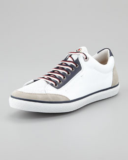 Moncler Academie Perforated Leather Sneaker, White