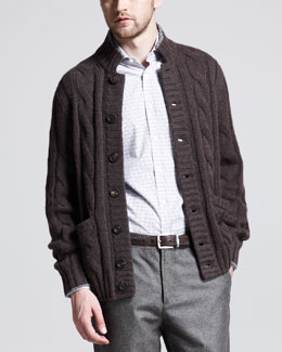 Brunello Cucinelli Cable-Knit Button-Down Cardigan