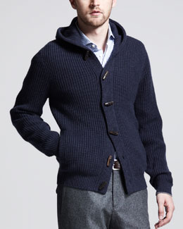 Brunello Cucinelli Shawl Hood Toggle Cashmere Cardigan, Ink