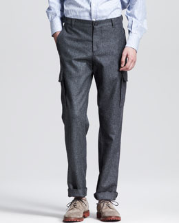 Brunello Cucinelli Flannel Cargo Pants, Dark Gray