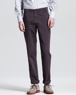 Brunello Cucinelli Twill Six-Pocket Pants, Eggplant