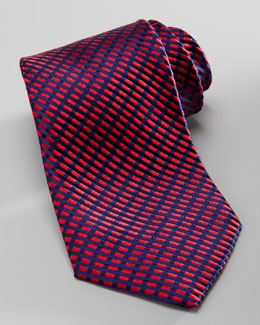 Charvet Diagonal Neat Silk Tie, Red/Navy