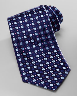 Charvet Bean-Pattern Silk Tie, Navy/Blue