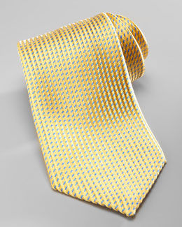 Charvet Neat Silk Tie, Yellow/Blue
