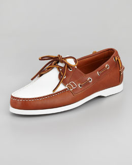 Ralph Lauren Telford Two-Tone Boat Shoe, Tan/White