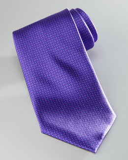 Brioni Micro-Dotted Square Neat Silk Tie, Purple