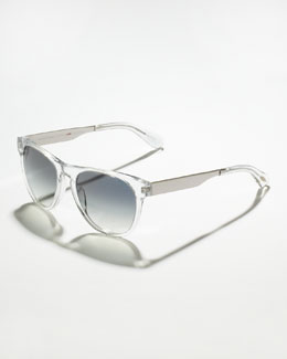 Oliver Peoples Braverman Photochromic Metal-Arm Clear Sunglasses, Crystal