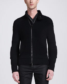 Belstaff Greythorn Double-Zip Heavy Knit Cardigan, Black