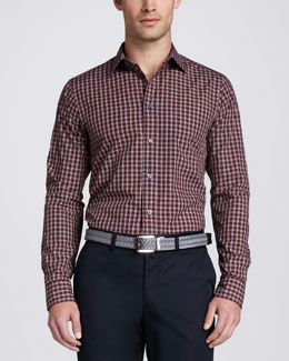 Zegna Sport Plaid Slim-Fit Sport Shirt, Red