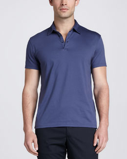 Zegna Sport Short-Sleeve Jersey Polo, Blue