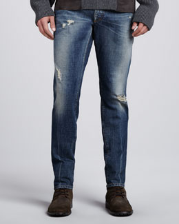 Dolce & Gabbana Mid-Rise Distressed Jeans, Faded Blue