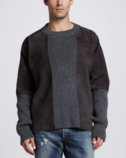 Dolce & Gabbana Suede & Knit Crew Neck Sweater, Tan