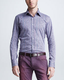 Etro Paisley & Striped Sport Shirt, Purple