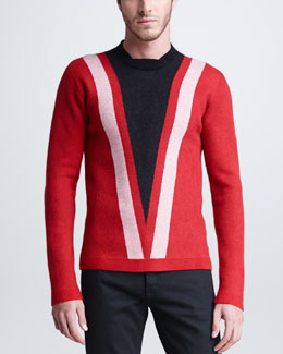 Burberry Prorsum V-Graphic Sweater, Red/Black/White