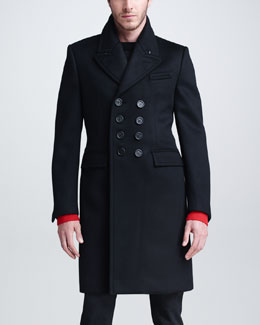 Burberry Prorsum Cashmere-Blend Double-Breasted Overcoat, Black