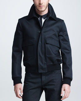 Burberry Prorsum Cashmere-Blend Bomber Jacket, Black