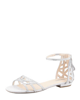 Giorgio Armani Flat Crystal Evening Sandals, Light Gray
