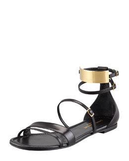 Saint Laurent Strappy Leather Ankle-Plate Sandal