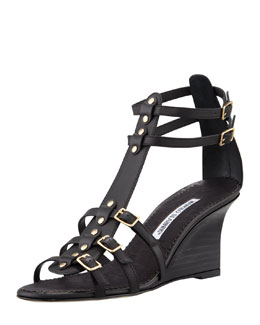 MANOLO BLAHNIK Axez Wedge Gladiator Sandal, Black