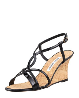 MANOLO BLAHNIK Martina Patent Cork Wedge Sandal, Black