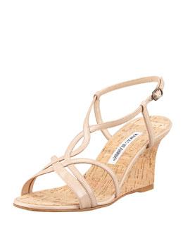 Martina Patent Cork Wedge Sandal, Beige