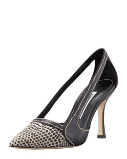 MANOLO BLAHNIK Tifo Canvas-Toe Cutout Pump, Navy/Oatmeal