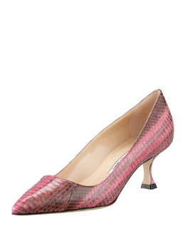 MANOLO BLAHNIK BB Low-Heel Snake Pump, Pink/Brown