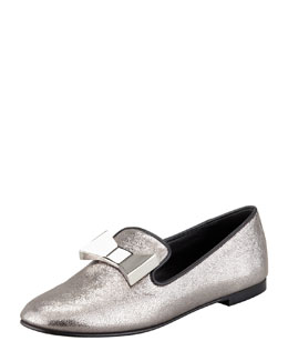 Giuseppe Zanotti Metallic Bow Smoking Slipper