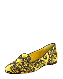 Alexander McQueen Butterfly Embroidered Suede Smoking Slipper
