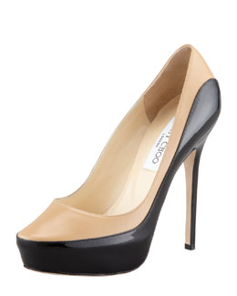 Jimmy Choo Sepia Two-Tone Platform Pump, Beige/Black