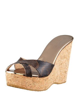 Jimmy Choo Perfume Snake-Print Crisscross Cork Wedge Slide, Brown