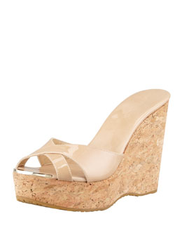 Jimmy Choo Perfume Patent Leather Crisscross Cork Wedge Slide, Nude