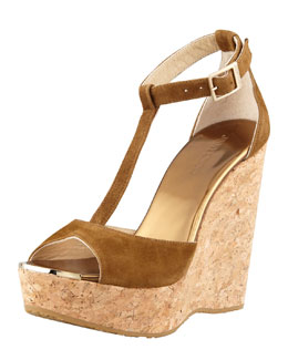 Jimmy Choo Pela Suede T-Strap Cork-Wedge Sandal, Dark Brown