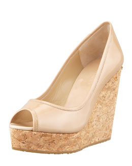 Jimmy Choo Papina Patent Leather Cork Wedge, Nude