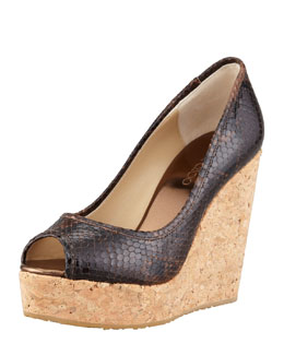 Jimmy Choo Papina Snake-Embossed Cork Wedge, Dark Brown