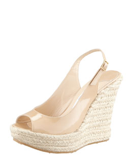 Jimmy Choo Polar Patent Espadrille Wedge, Nude